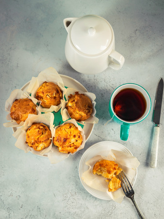 Homemade double cheese muffins with feta and mozzarella. Tasty easy cooking snack Stock Photo