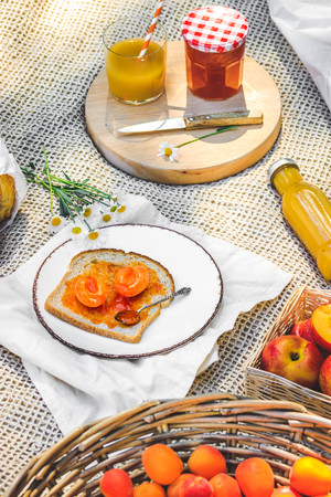Assortment of food for picnic on beige plaid. Plate with apricots, little jar with jam , variety of bread, glace of juice. Cozy summer breakfast.