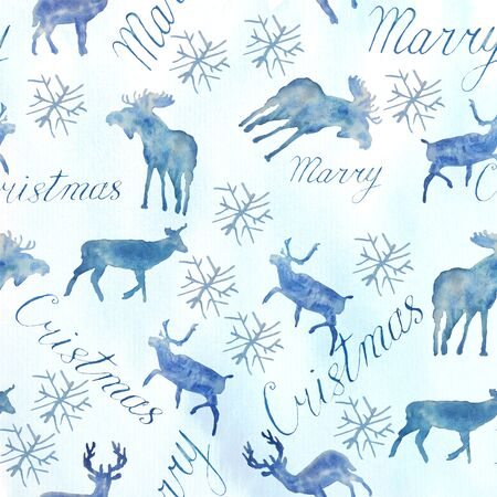 Seamless deer pattern. New Years and Christmas