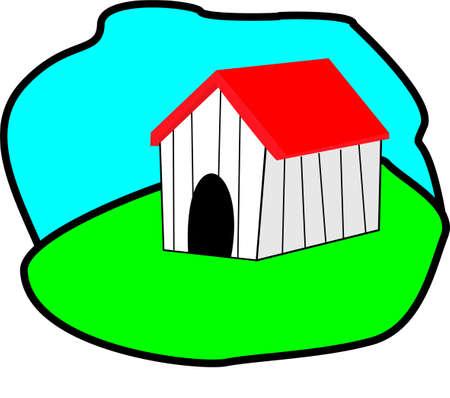 residential homes: home dog Illustration