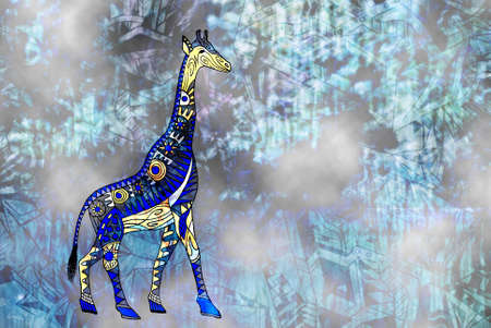 traditional pattern: Pattern. Giraffes drawing in abstract style Stock Photo