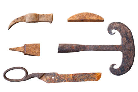 Old forged rural tools on isolated white background.. Stock Photo