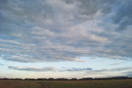 agrarian: Evening fields and meadows of the Saratov region under the blue cloudy sky