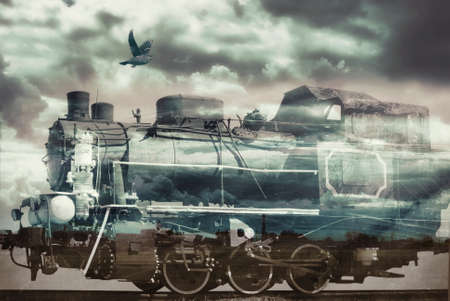 Collage in soft tones on the topic of Ancient trains 写真素材
