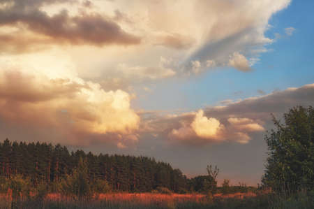Cloudy evening summer sky over the forest valley of the reserved places of Russia. Landscape at sunset.