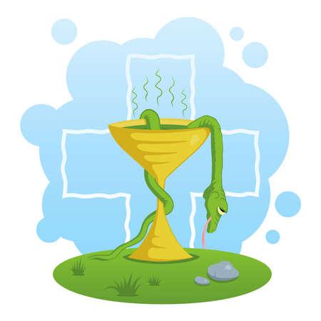 Bad medicine illustration. Dead snake in poisoned cup. Illustration