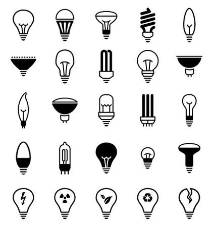 halogen lighting: Light bulb icons. Vector illustration of lamp icons.