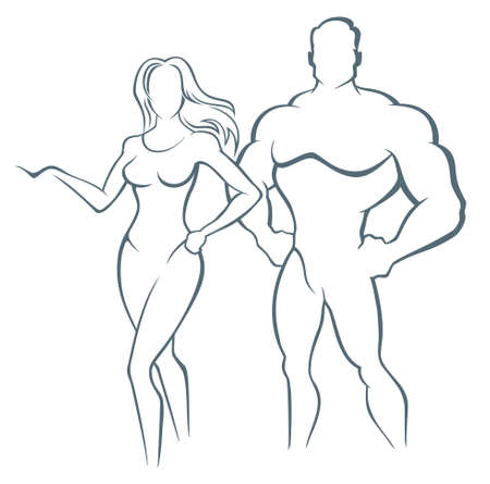 Vector illustration of muscleman and fitness woman Illustration