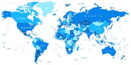 oriente: Altamente detallada ilustración vectorial del mapa del mundo incluyendo fronteras países y ciudades