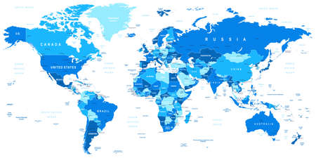 world map blue: Highly detailed vector illustration of world map including borders countries and cities