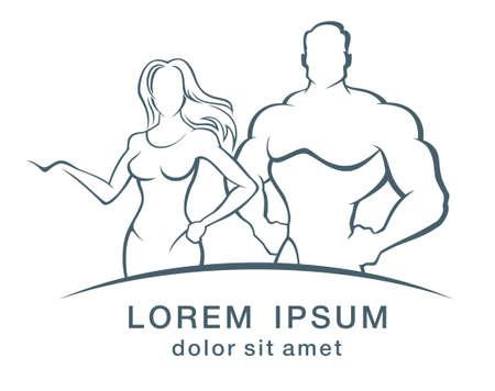 saludable logo: Ilustraci�n vectorial de muscleman y fitness mujer logotipo.