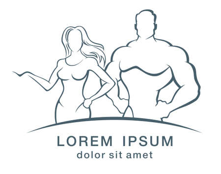 grayscale: Vector illustration of muscleman and fitness woman logo.