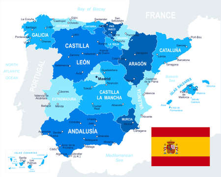 regions: Spain map and flag highly detailed vector illustration