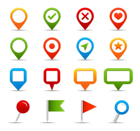 reference point: Navigation icons - vector Illustration of map pins and labels. Illustration