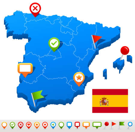 geographical locations: Vector illustration of Spain map and navigation icons. Illustration
