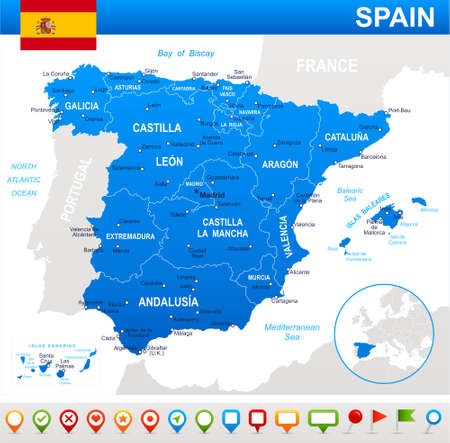 Spain map and flag - highly detailed vector illustration.Image contains next layers. There are land contours, country and land names, city names, water object names, flag, navigation icons. Illustration