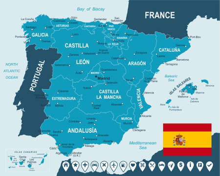 geographical locations: Spain map and flag - highly detailed vector illustration.Image contains next layers. There are land contours, country and land names, city names, water object names, flag, navigation icons. Illustration