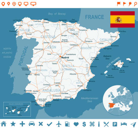 Spain map and flag, navigation labels, roads -highly detailed vector illustration. Ilustração