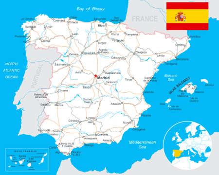 Spain - map, flag, navigation labels, roads - highly detailed vector illustration.