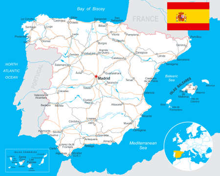 spain map: Spain - map, flag, navigation labels, roads - highly detailed vector illustration.