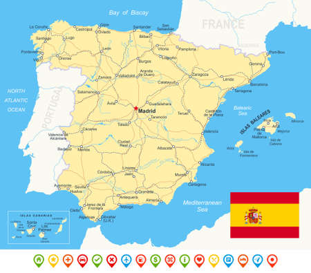 geographical locations: Spain - map, flag, navigation icons, roads, rivers highly detailed vector illustration.