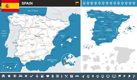 european community: Spain map and flag - highly detailed vector illustration.