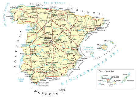 madrid spain: Spain - detailed map - illustration.
