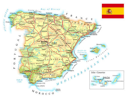 Spain - detailed topographic map - illustration. Map contains: topographic contours, country and land names, cities, water objects, flag, roads, railways. Ilustração