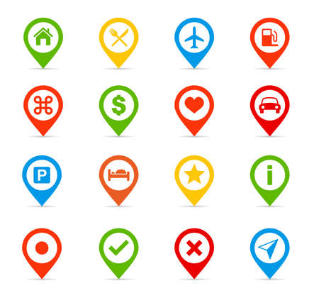 reference point: Navigation icons - Illustration.Vector illustration of map pins and labels.