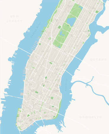 Mapa de Nueva York - Bajo y Medio Manhattan.Highly vectorial detallada de map.It incluye todas las calles, los parques, los nombres de los subdistritos, puntos de interés, las etiquetas, los barrios.