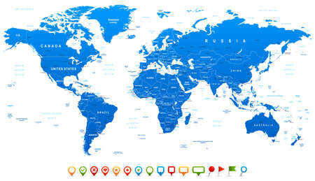 Blue World Map and navigation icons - illustration. Highly detailed world map: countries, cities, water objects.