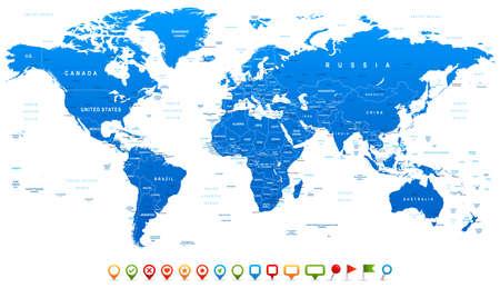 krajina: Modrá mapa světa a navigační ikony - ilustrace. Vysoce detailní mapa světa: země, města, vodní objekty.