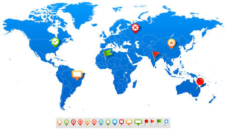 world map blue: World Map and navigation icons - illustration.Vector illustration of World map and navigation icons.