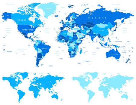 mappa: Blue World Map - confini, i paesi e le città - illustration.World mappe con diversi specification.There sono paesi molto dettagliate, città, oggetti acqua, contorni di campagna, contorni mondo.