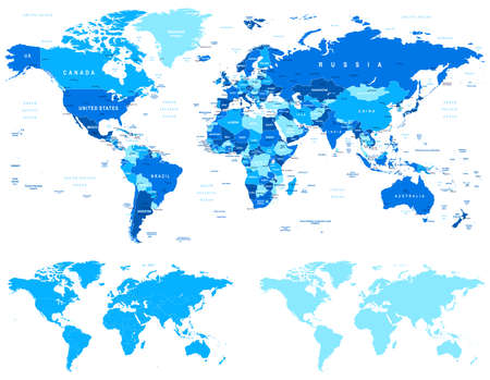 Blue World Map - borders, countries and cities - illustration.World maps with different specification.There are highly detailed countries, cities, water objects, country contours, world contours. Иллюстрация