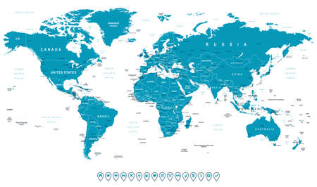 World Map and navigation icons - illustration.Highly detailed world map: countries, cities, water objects.