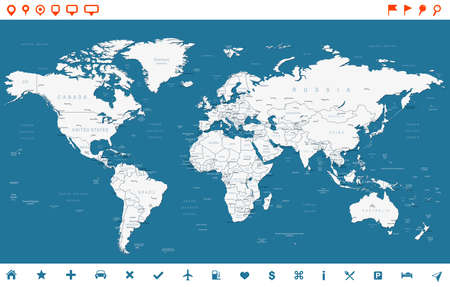 Steel Blue World Map and navigation icons - illustration. Vectores