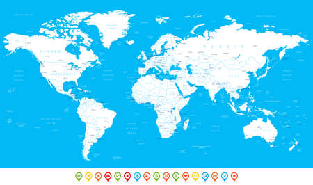 White World Map and navigation icons - illustration. Highly detailed world map: countries, cities, water objects.