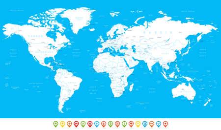 Weiß Weltkarte und Navigationsikonen - Abbildung. Sehr detaillierte Weltkarte: Länder, Städte, Wasserobjekte. Illustration