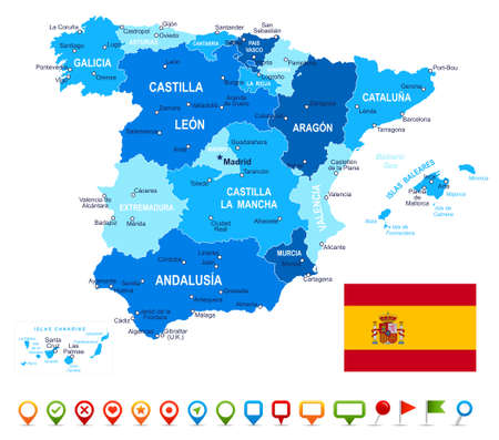 geographical locations: Spain - map, flag and navigation icons - illustration.Image contains next layers. There are land contours, country and land names, city names, water object names, flag, navigation icons.
