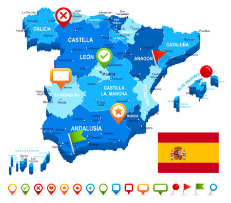 spain map: Spain - map, flag and navigation icons - illustration.