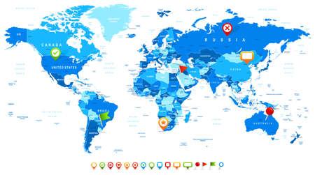 mapa de africa: Mapa del Mundo y los iconos de navegaci�n - ilustraci�n illustration.Vector de mapa del mundo y de navegaci�n iconos.