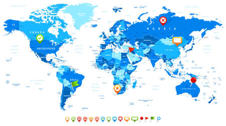 uk map: World Map and navigation icons - illustration.Vector illustration of World map and navigation icons.