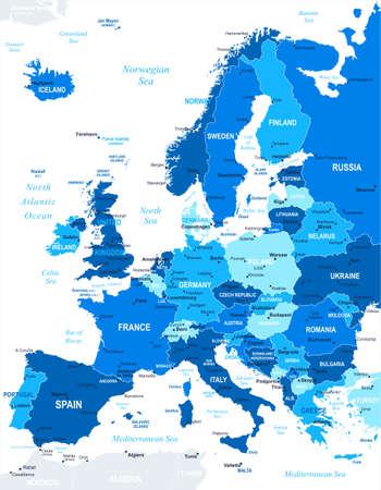 mapa de europa: Mapa de Europa - altamente detallada ilustración vectorial. La imagen contiene próximos capas. Hay contornos terrestres, nombres de países y de la tierra, los nombres de ciudades, nombres de objetos agua.