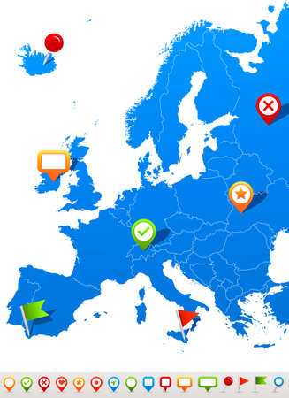 Europe map and navigation icons - Illustration.Vector illustration of Europe map and navigation icons. Vettoriali