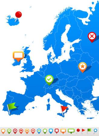 Europe map and navigation icons - Illustration.Vector illustration of Europe map and navigation icons. Illustration