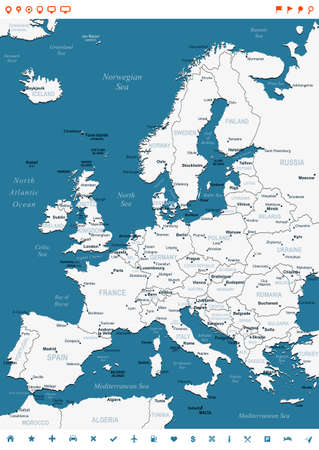 navigation object: Europe map - highly detailed vector illustration. Image contains land contours, country and land names, city names, water object names, navigation icons.