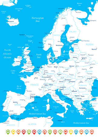 Europe map - highly detailed vector illustration. Image contains land contours, country and land names, city names, water object names, navigation icons.
