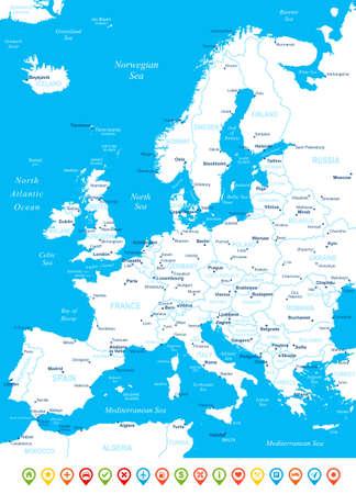 Europe map - très détaillée illustration vectorielle. L'image contient des contours terrestres, les noms de pays et de la terre, les noms de ville, les noms d'objets de l'eau, des icônes de navigation. Banque d'images - 43473976