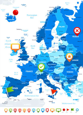 geographical locations: Europe - map and navigation icons - illustration.